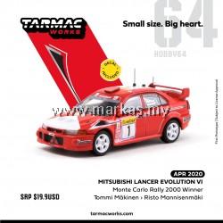 TARMAC WORKS 1/64 MITSUBISHI LANCER EVO VI MONTE CARLO RALLY 2000 WINNER *DECALS INCLUDED