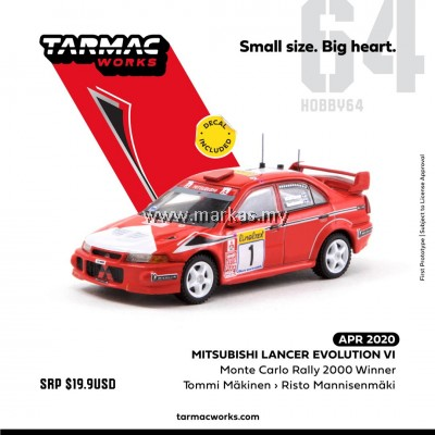TARMAC WORKS 1/64 MITSUBISHI LANCER EVO VI MONTE CARLO RALLY 2000 WINNER *DECALS INCLUDED