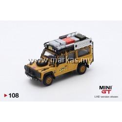 (PO) MINI GT #108 1/64 LAND ROVER DEFENDER 110 1989 CAMEL TROPHY WINNER