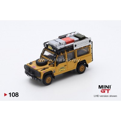 (PO) MINI GT #108 1/64 LAND ROVER DEFENDER 110 1989 CAMEL TROPHY WINNER