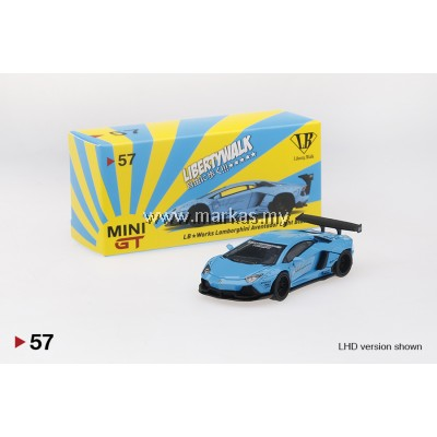 MINI GT 1/64 #57 LB WORKS LAMBORGHINI AVENTADOR LIGHT BLUE (RHD)
