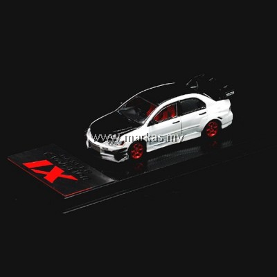 (PO) CM MODEL 1/64 MITSUBISHI LANCER EVO IX VOLTEX - PEARL WHITE CARBON LOW WING