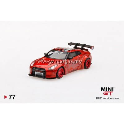 MINI GT 1/64 #77 LB WORKS NISSAN GTR R35 TYPE 1 REAR WING VER 1+2 CANDY RED (RHD)