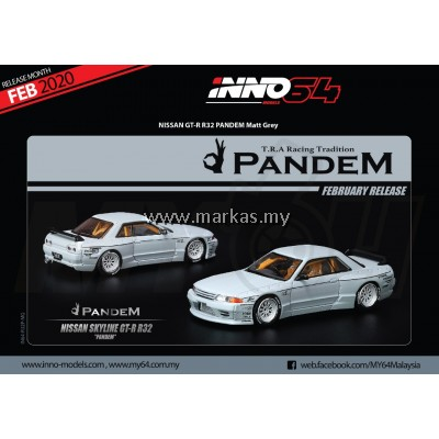 (PO) INNO MODELS INNO64 1/64 NISSAN SKYLINE GT-R R32 PANDEM MATT GREY