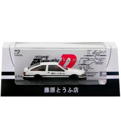 (PO) TIME MODEL 1/64 TOYOTA TRUENO AE86 INITIAL D WHITE