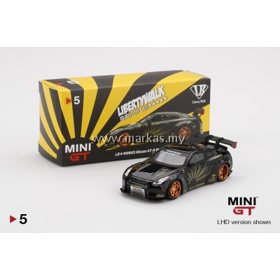 MINI GT 1/64 #05 LB WORKS NISSAN GTR R35 TYPE 1 REAR WING 1+2 BLACK WITH COPPER WHEELS