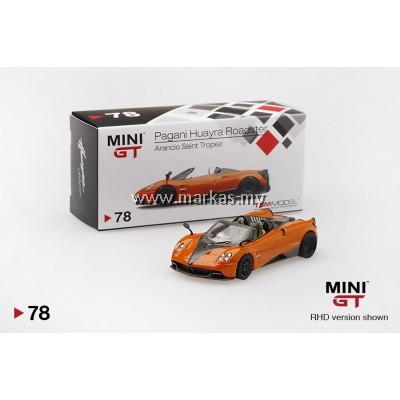 MINI GT 1/64 #78 PAGANI HUARYA ROADSTER ARANCIO SAINT TROPEZ (RHD)