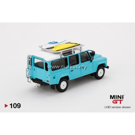 (PO) MINI GT #109 1/64 LAND ROVER DEFENDER 110 LIGHT BLUE WITH SURFBOARD