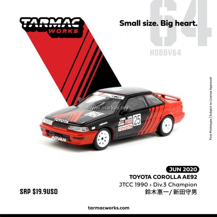 (PO) TARMAC WORKS 1/64 TOYOTA COROLLA AE92 JTCC 1990 DIV.3 CHAMPION