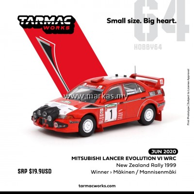 (PO) TARMAC WORKS 1/64 MITSUBISHI LANCER EVO VI WRC NEW ZEALAND RALLY 1999 WINNER