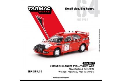 (PO) TARMAC WORKS 1/64 MITSUBISHI LANCER EVO VI WRC NEW ZEALAND RALLY 1999 WINNER