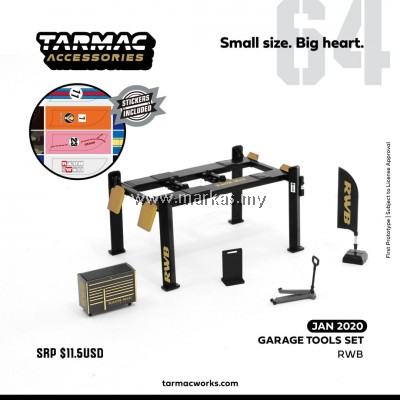 TARMAC WORKS 1/64 GARAGE TOOLS SET RWB (STICKERS INCLUDED)