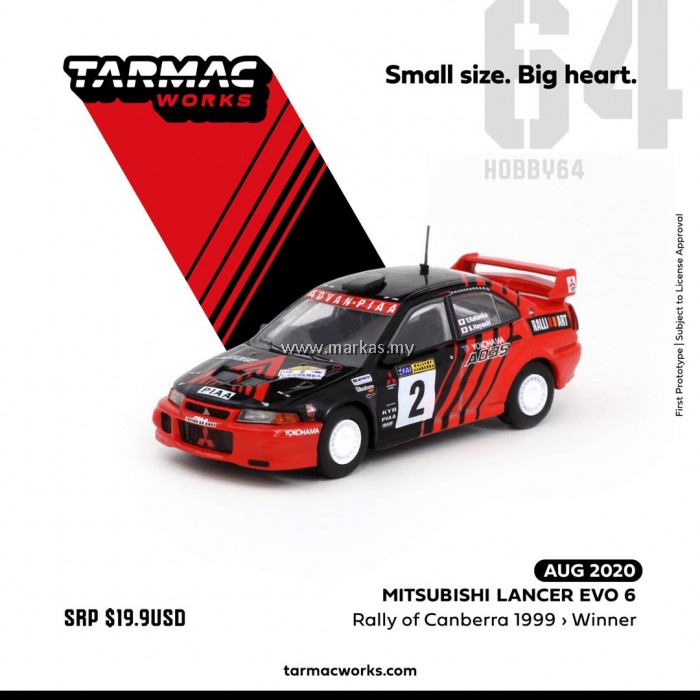 (PO) TARMAC WORKS 1/64 MITSUBISHI LANCER EVO VI WINNER RALLY OF CANBERRA 1999