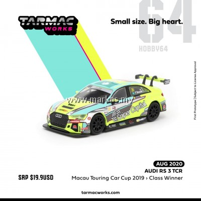 (PO) TARMAC WORKS HOBBY64 1/64 AUDI RS3 MACAU TOURING CAR CUP 2019 WINNER