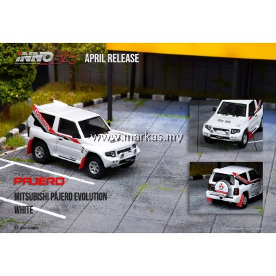 (PO) INNO MODELS INNO64 1/64 MITSUBISHI PAJERO EVOLUTION WHITE WITH EXTRA WHEELS