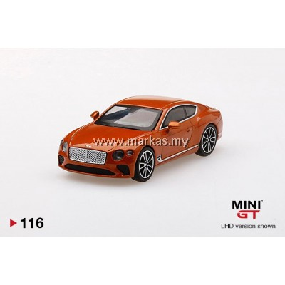 (PO) MINI GT 1/64 #116 BENTLEY CONTINENTAL ORANGE FLAME