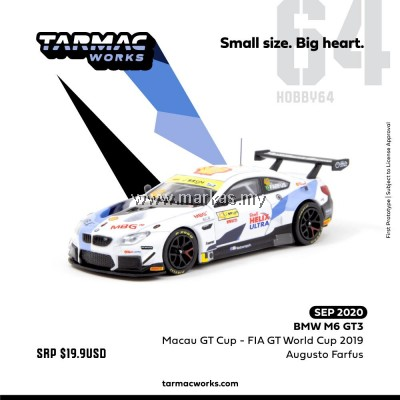 (PO) TARMAC WORKS 1/64 BMW M6 GT3 MACAU GT CUP-FIA GT WORLD CUP 2019
