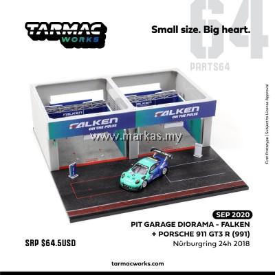 (PO) TARMAC WORKS 1/64 PIT GARAGE DIORAMA - FALKEN + PORSCHE 911 GT3 R (991)