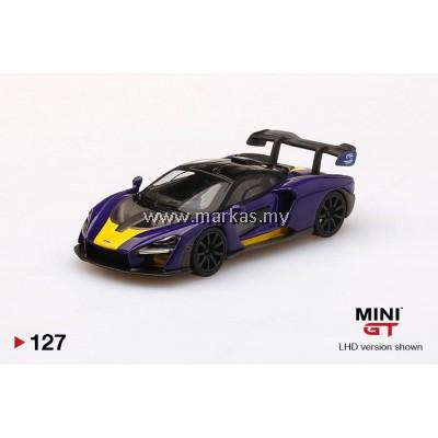 (PO) MINI GT 1/64 #127 MCLAREN SENNA PURPLE/YELLOW