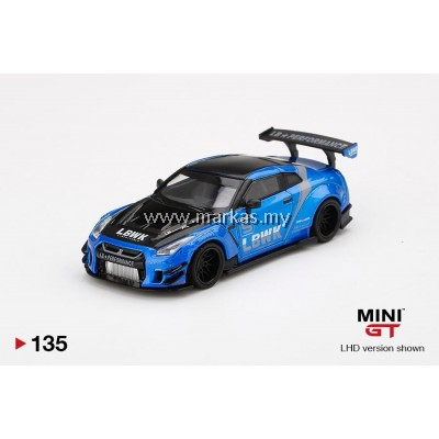 (PO) MINI GT 1/64 #135 LB WORKS NISSAN GT-R R35 TYPE 2 REAR WING VER 2 BLUE LB WORKS LIVERY 2.0