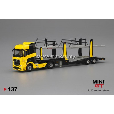 (PO) MINI GT 1/64 #137 MERCEDES BENZ ACTROS WITH YELLOW CAR CARRIER TRAILER