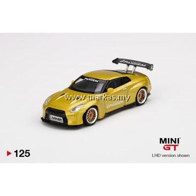 (PO) MINI GT 1/64 #125 PANDEM NISSAN GT-R R35 GT WING COSMOPOLITAN YELLOW