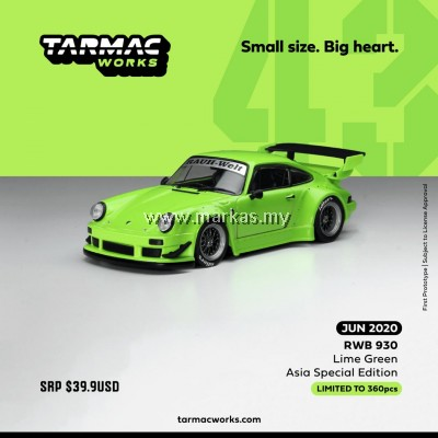 (PO) TARMAC WORKS 1/43 PORSCHE RWB 930 LIME GREEN WITH BLACK WHEELS (ASIA SPECIAL EDITION)