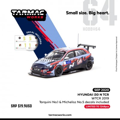 (PO) TARMAC WORKS 1/64 HYUNDAI i30 N TCR WTCR 2019