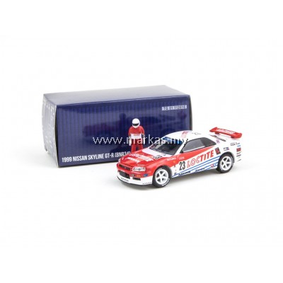 TARMAC WORKS x GREENLIGHT COLLECTIBLES 1/64 NISSAN SKYLINE GT-R R34 LOCTITE 1999 *INCLUDES RACE FIGURE