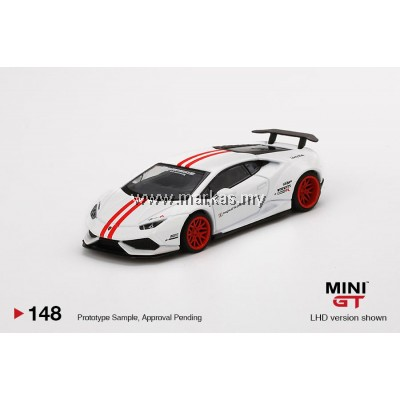 (PO) MINI GT 1/64 #148 LB WORKS LAMBORGHINI HURACAN VERSION 1 WHITE RED STRIPE