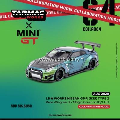(PO) TARMAC WORKS X MINI GT 1/64 LB WORKS NISSAN GTR (R35) TYPE 2 REAR WING VER 3 (RHD) MAGIC GREEN