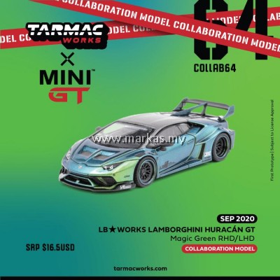 (PO) TARMAC WORKS X MINI GT 1/64 LB WORKS LAMBORGHINI HURACAN GT (RHD) MAGIC GREEN