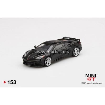 (PO) MINI GT 1/64 #153 CHEVROLET CORVETTE STINGRAY 2020 BLACK WITH MIDNIGHT GRAY STRIPE