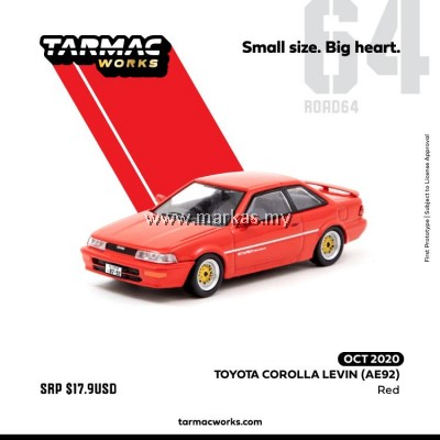 (PO) TARMAC WORKS ROAD64 1/64 TOYOTA COROLLA LEVIN AE92 RED