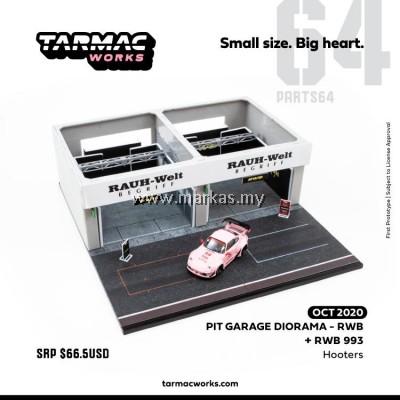 (PO) TARMAC WORKS PART64 1/64 RACING PIT GARAGE RWB WITH EXCLUSIVE RWB993 HOOTERS