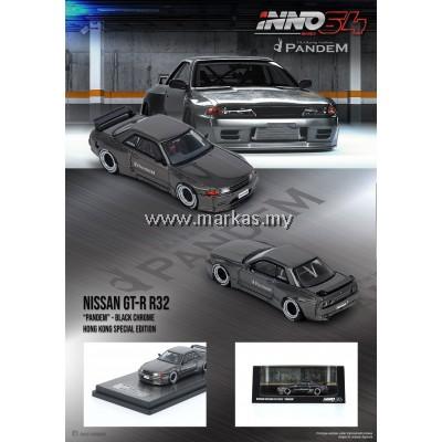 INNO MODELS INNO64 1/64 NISSAN SKYLINE GT-R R32 PANDEM BLACK CHROME - HONG KONG SPECIAL EDITION
