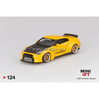 (PO) MINI GT 1/64 #124 PANDEM NISSAN GT-R R35 PANDEM DUCKTAIL METALLIC YELLOW WITH CARBON BONNET