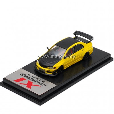 (PO) CM MODEL 1/64 MITSUBISHI LANCER EVO IX YELLOW CARBON LOW WING