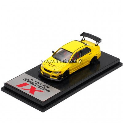 (PO) CM MODEL 1/64 MITSUBISHI LANCER EVO IX YELLOW PLAIN HIGH WING