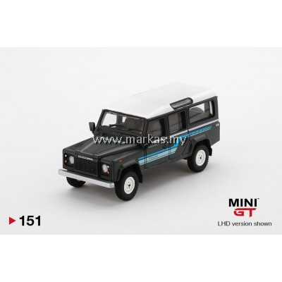 (PO) MINI GT #151 1/64 LAND ROVER DEFENDER 110 1985 COUNTRY STATION WAGON GREY