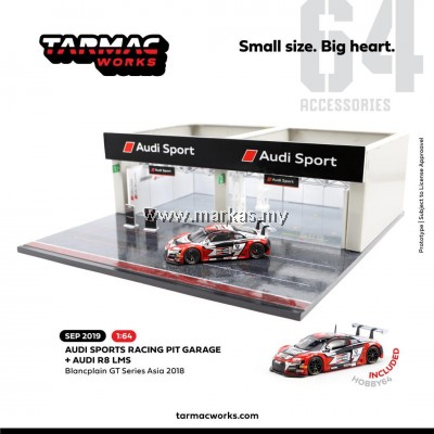TARMAC WORKS 1/64 ACCESSORIES RACING PITS STOP AUDI SPORT WITH EXCLUSIVE 1/64 AUDI R8 BLANCPAIN GT SERIES ASIA 2018