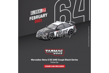 (PO) TARMAC WORKS GLOBAL64 1/64 MERCEDES BENZ C63 AMG COUPE BLACK SERIES POLICE CAR