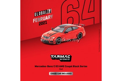 (PO) TARMAC WORKS GLOBAL64 1/64 MERCEDES BENZ C63 AMG COUPE BLACK SERIES RED