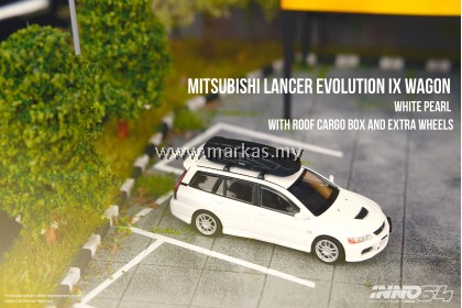 (PO) INNO MODELS INNO64 1/64 MITSUBISHI LANCER EVOLUTION IX WAGON WHITE PEARL WITH ROOF CARGO BOX AND EXTRA WHEELS