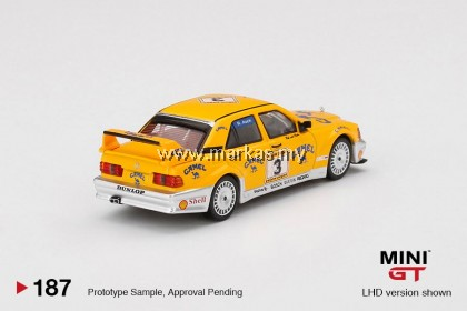MINI GT 1/64 #187 MERCEDES BENZ 190E 2.5-16 EVOLUTION II #3 CAMEL 1990 YELLOW PAGE 200 INVITATIONAL KYALAMI