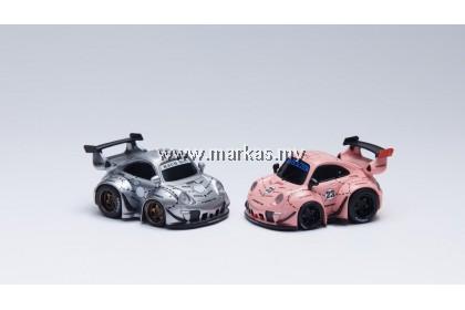 (PO) YOU&CAR X FURUYA 1/64 RWB 993 Q SCALE WITH FIGURE - SILVER PHANTOM