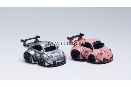 (PO) YOU&CAR X FURUYA 1/64 RWB 993 Q SCALE WITH FIGURE - PINK PIG