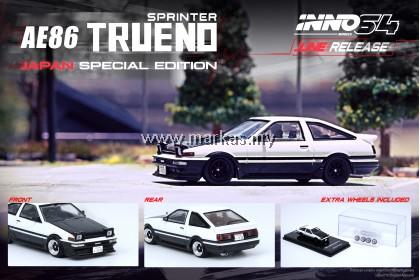(PO) INNO MODELS INNO64 1/64 TOYOTA SPRINTER TRUENO AE86 WHITE BLACK WITH EXTRA WHEELS - JAPAN SPECIAL EDITION
