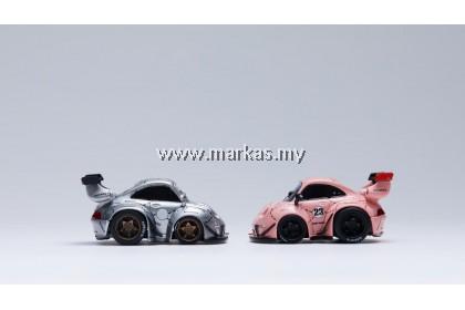 YOU&CAR X FURUYA 1/64 RWB 993 Q SCALE WITH FIGURE - SILVER PHANTOM