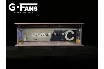 (PO) G-FANS MODELS 1/64 GARAGE SCENE PARKING DIORAMA WITH LED LIGHT
